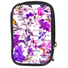 Ultra Violet,shabby Chic,flowers,floral,vintage,typography,beautiful Feminine,girly,pink,purple Compact Camera Cases