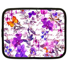 Ultra Violet,shabby Chic,flowers,floral,vintage,typography,beautiful Feminine,girly,pink,purple Netbook Case (xxl)