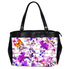 Ultra Violet,shabby Chic,flowers,floral,vintage,typography,beautiful Feminine,girly,pink,purple Office Handbags (2 Sides)