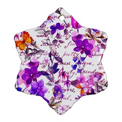 Ultra Violet,shabby Chic,flowers,floral,vintage,typography,beautiful Feminine,girly,pink,purple Snowflake Ornament (two Sides)