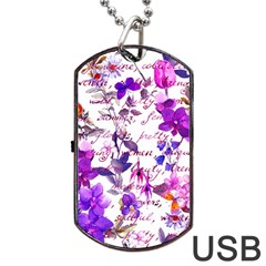 Ultra Violet,shabby Chic,flowers,floral,vintage,typography,beautiful Feminine,girly,pink,purple Dog Tag Usb Flash (two Sides)