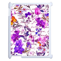 Ultra Violet,shabby Chic,flowers,floral,vintage,typography,beautiful Feminine,girly,pink,purple Apple Ipad 2 Case (white)