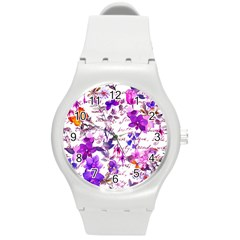 Ultra Violet,shabby Chic,flowers,floral,vintage,typography,beautiful Feminine,girly,pink,purple Round Plastic Sport Watch (m)