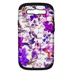 Ultra Violet,shabby Chic,flowers,floral,vintage,typography,beautiful Feminine,girly,pink,purple Samsung Galaxy S Iii Hardshell Case (pc+silicone)