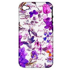 Ultra Violet,shabby Chic,flowers,floral,vintage,typography,beautiful Feminine,girly,pink,purple Apple Iphone 4/4s Hardshell Case (pc+silicone)