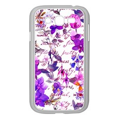 Ultra Violet,shabby Chic,flowers,floral,vintage,typography,beautiful Feminine,girly,pink,purple Samsung Galaxy Grand Duos I9082 Case (white)