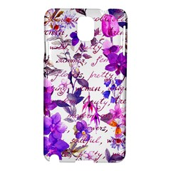 Ultra Violet,shabby Chic,flowers,floral,vintage,typography,beautiful Feminine,girly,pink,purple Samsung Galaxy Note 3 N9005 Hardshell Case