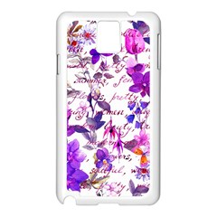 Ultra Violet,shabby Chic,flowers,floral,vintage,typography,beautiful Feminine,girly,pink,purple Samsung Galaxy Note 3 N9005 Case (white)