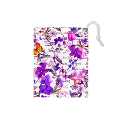 Ultra Violet,shabby Chic,flowers,floral,vintage,typography,beautiful Feminine,girly,pink,purple Drawstring Pouches (small)