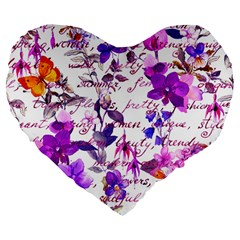 Ultra Violet,shabby Chic,flowers,floral,vintage,typography,beautiful Feminine,girly,pink,purple Large 19  Premium Flano Heart Shape Cushions
