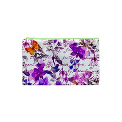 Ultra Violet,shabby Chic,flowers,floral,vintage,typography,beautiful Feminine,girly,pink,purple Cosmetic Bag (xs)