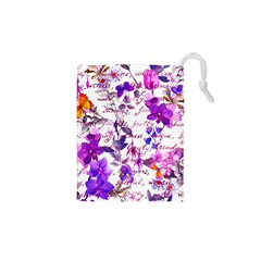 Ultra Violet,shabby Chic,flowers,floral,vintage,typography,beautiful Feminine,girly,pink,purple Drawstring Pouches (xs)