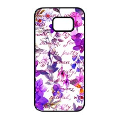 Ultra Violet,shabby Chic,flowers,floral,vintage,typography,beautiful Feminine,girly,pink,purple Samsung Galaxy S7 Edge Black Seamless Case