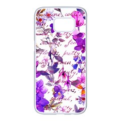 Ultra Violet,shabby Chic,flowers,floral,vintage,typography,beautiful Feminine,girly,pink,purple Samsung Galaxy S7 Edge White Seamless Case