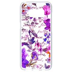 Ultra Violet,shabby Chic,flowers,floral,vintage,typography,beautiful Feminine,girly,pink,purple Samsung Galaxy S8 White Seamless Case
