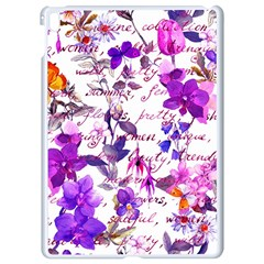 Ultra Violet,shabby Chic,flowers,floral,vintage,typography,beautiful Feminine,girly,pink,purple Apple Ipad Pro 9 7   White Seamless Case