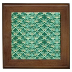Teal,beige,art Nouveau,vintage,original,belle ¨|poque,fan Pattern,geometric,elegant,chic Framed Tiles