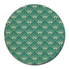 Teal,beige,art Nouveau,vintage,original,belle ¨|poque,fan Pattern,geometric,elegant,chic Round Mousepads