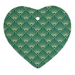 Teal,beige,art Nouveau,vintage,original,belle ¨ poque,fan Pattern,geometric,elegant,chic Ornament (heart)