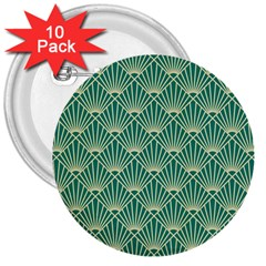 Teal,beige,art Nouveau,vintage,original,belle ¨|poque,fan Pattern,geometric,elegant,chic 3  Buttons (10 Pack)