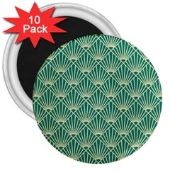 Teal,beige,art Nouveau,vintage,original,belle ¨|poque,fan Pattern,geometric,elegant,chic 3  Magnets (10 Pack)