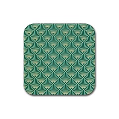 Teal,beige,art Nouveau,vintage,original,belle ¨|poque,fan Pattern,geometric,elegant,chic Rubber Coaster (square)