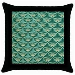 Teal,beige,art Nouveau,vintage,original,belle ¨|poque,fan Pattern,geometric,elegant,chic Throw Pillow Case (black)