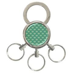 Teal,beige,art Nouveau,vintage,original,belle ¨|poque,fan Pattern,geometric,elegant,chic 3 Ring Key Chains