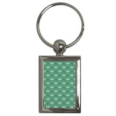 Teal,beige,art Nouveau,vintage,original,belle ¨|poque,fan Pattern,geometric,elegant,chic Key Chains (rectangle)