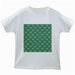 Teal,beige,art Nouveau,vintage,original,belle ¨|poque,fan Pattern,geometric,elegant,chic Kids White T Shirts