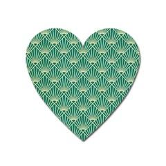 Teal,beige,art Nouveau,vintage,original,belle ¨ poque,fan Pattern,geometric,elegant,chic Heart Magnet