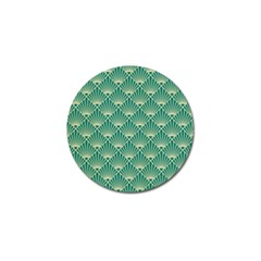 Teal,beige,art Nouveau,vintage,original,belle ¨|poque,fan Pattern,geometric,elegant,chic Golf Ball Marker