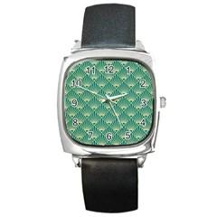 Teal,beige,art Nouveau,vintage,original,belle ¨ poque,fan Pattern,geometric,elegant,chic Square Metal Watch