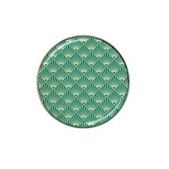 Teal,beige,art Nouveau,vintage,original,belle ¨|poque,fan Pattern,geometric,elegant,chic Hat Clip Ball Marker
