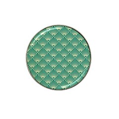 Teal,beige,art Nouveau,vintage,original,belle ¨|poque,fan Pattern,geometric,elegant,chic Hat Clip Ball Marker (4 Pack)