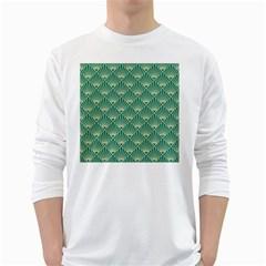 Teal,beige,art Nouveau,vintage,original,belle ¨|poque,fan Pattern,geometric,elegant,chic White Long Sleeve T Shirts