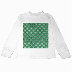 Teal,beige,art Nouveau,vintage,original,belle ¨|poque,fan Pattern,geometric,elegant,chic Kids Long Sleeve T Shirts