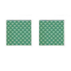 Teal,beige,art Nouveau,vintage,original,belle ¨|poque,fan Pattern,geometric,elegant,chic Cufflinks (square)