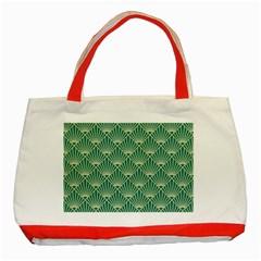Teal,beige,art Nouveau,vintage,original,belle ¨|poque,fan Pattern,geometric,elegant,chic Classic Tote Bag (red)