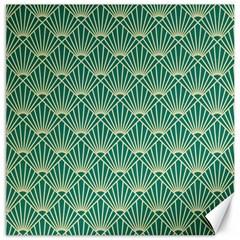 Teal,beige,art Nouveau,vintage,original,belle ¨ poque,fan Pattern,geometric,elegant,chic Canvas 16  X 16