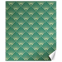 Teal,beige,art Nouveau,vintage,original,belle ¨|poque,fan Pattern,geometric,elegant,chic Canvas 20  X 24