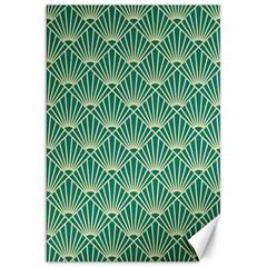 Teal,beige,art Nouveau,vintage,original,belle ¨|poque,fan Pattern,geometric,elegant,chic Canvas 20  X 30