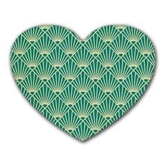 Teal,beige,art Nouveau,vintage,original,belle ¨|poque,fan Pattern,geometric,elegant,chic Heart Mousepads