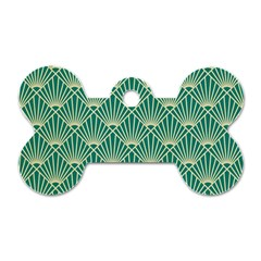 Teal,beige,art Nouveau,vintage,original,belle ¨|poque,fan Pattern,geometric,elegant,chic Dog Tag Bone (two Sides)