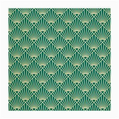 Teal,beige,art Nouveau,vintage,original,belle ¨|poque,fan Pattern,geometric,elegant,chic Medium Glasses Cloth (2 Side)