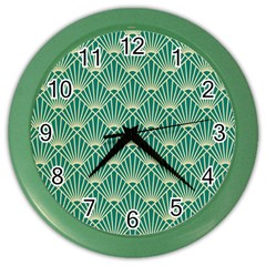 Teal,beige,art Nouveau,vintage,original,belle ¨|poque,fan Pattern,geometric,elegant,chic Color Wall Clocks
