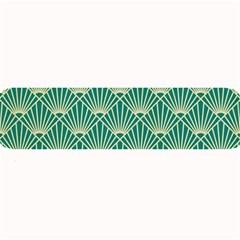 Teal,beige,art Nouveau,vintage,original,belle ¨|poque,fan Pattern,geometric,elegant,chic Large Bar Mats