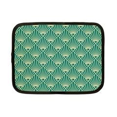 Teal,beige,art Nouveau,vintage,original,belle ¨ poque,fan Pattern,geometric,elegant,chic Netbook Case (small)
