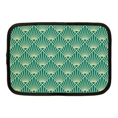 Teal,beige,art Nouveau,vintage,original,belle ¨|poque,fan Pattern,geometric,elegant,chic Netbook Case (medium)