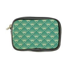 Teal,beige,art Nouveau,vintage,original,belle ¨|poque,fan Pattern,geometric,elegant,chic Coin Purse